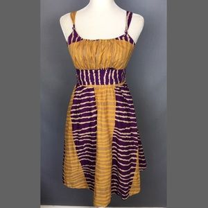 Anthro Fei Serengeti smocked tribal dress pockets